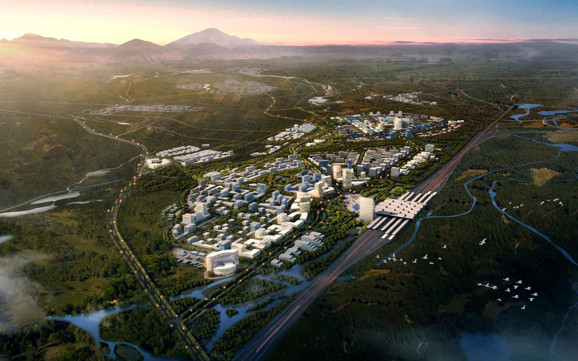 该项目位于长白山片区北大门服务基地-池北区的东北角,是进入长白山的门户地带,设计范围约3.8平方公里。长白山高铁新区设计延续城市既有的组团结构,向外扩展形成圈层式的功能布局模式。融合周边文化旅游,创意产业,公共服务、低碳居住等组团,形成整体的城市网络;同时完善中心交通环,增强高铁新区的多方向聚合可达性;加强整体城镇的绿色向心和组团生态集聚。 在设计中原有的林地最大限度得以保留。三条主要城市轴线延续至高铁新区,并串起主要的城市节点。从高铁站通往老城及景区方向的主干道采用林荫大道的形式,同时保留了部分原有铁轨