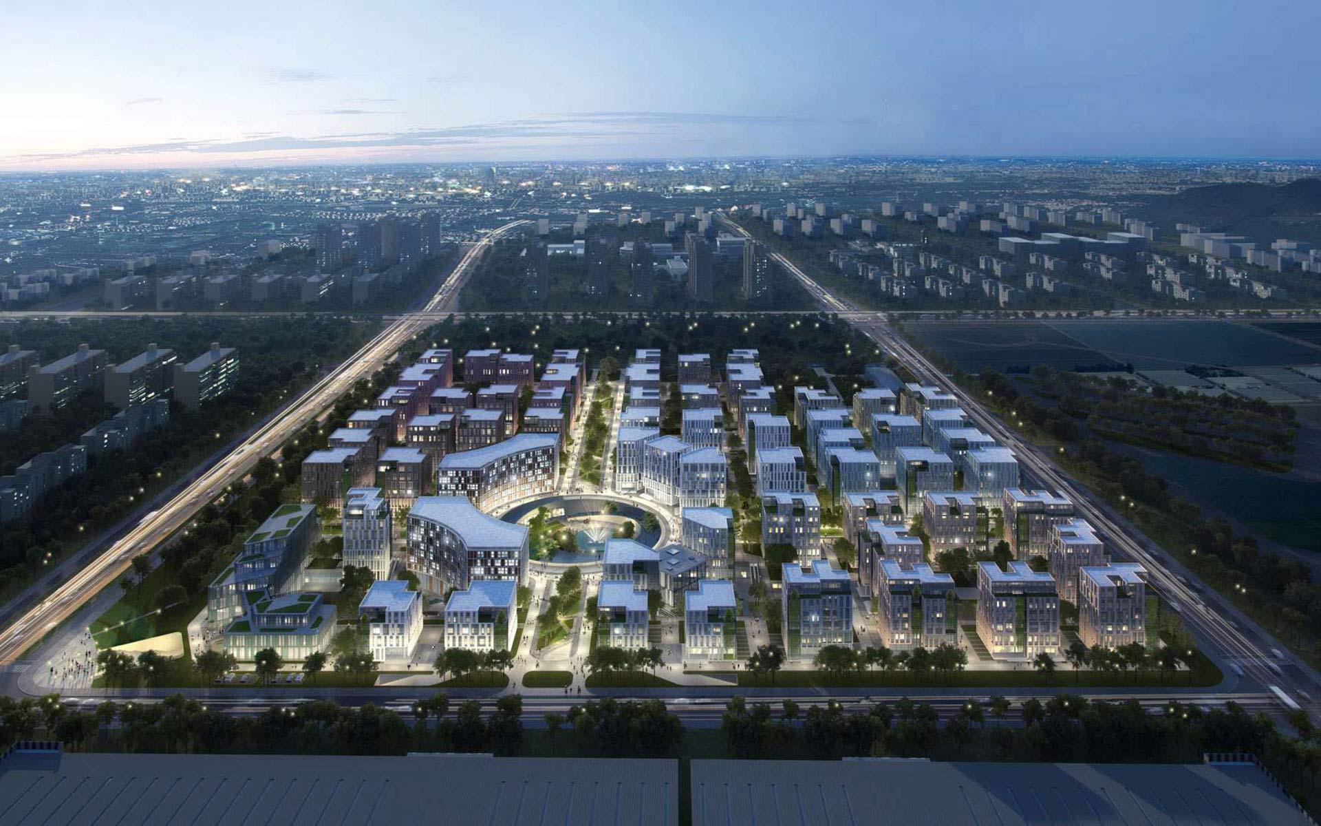 """本方案的设计灵感来自于汉字""""田""""的形态,呼应生态,健康的产业主题"""