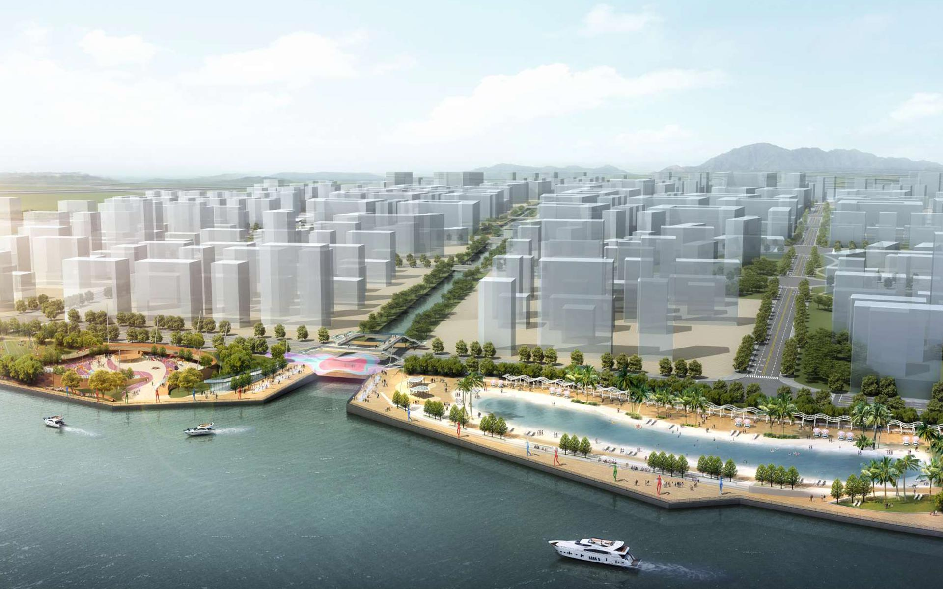 Nansha waterfront landscape obermeyer engineering for Waterfront landscape design
