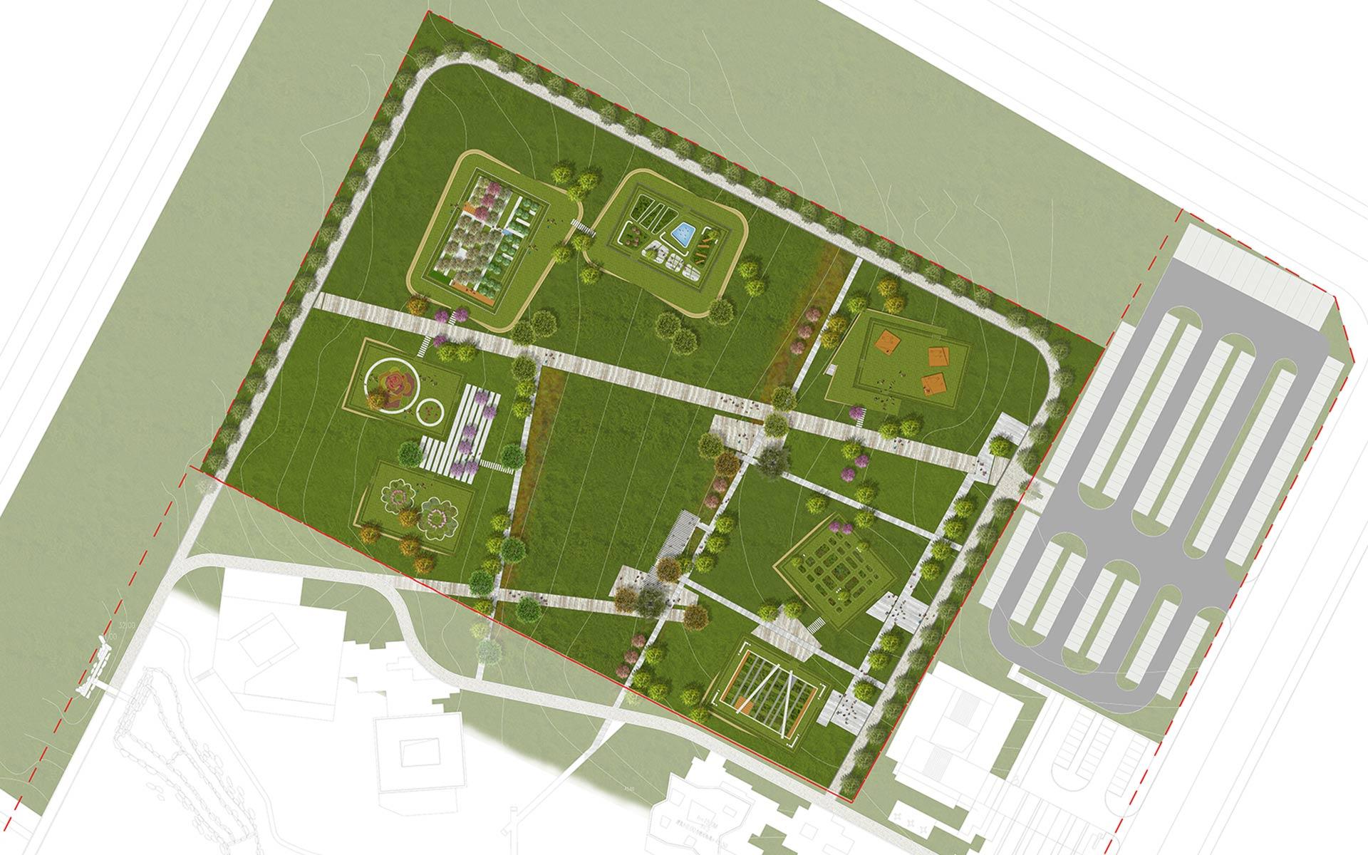 小型绿地设计效果图