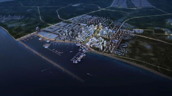 OBERMEYER Hainan Wenchang Mulan Bay Urban Design Aerial Night